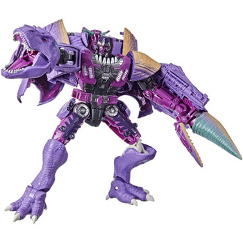 Unleash the primal power of the beasts with this Megatron (Beast) collectible figure, featuring a detailed beast mode with intricate dinosaur-inspired molded scales and articulated jaw with molded teeth.