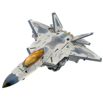 Convert this Starscream figure into a film-inspired official Lockheed Martin F-22 Raptor Jet as seen in the first Transformers live action film in 63 steps.