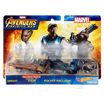 Hot Wheels Marvel Avengers Infinity War GROOT, THOR & ROCKET RACCOON 1:64 Scale Die-Cast Character Car 3-Pack in packaging.