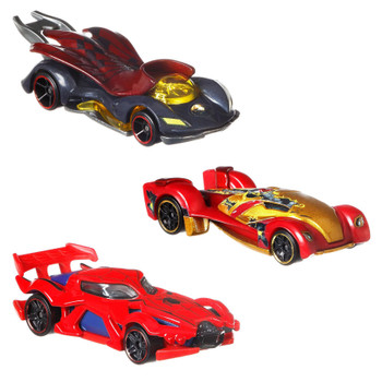Hot Wheels Marvel 3-Pack includes Dr. Strange, Spider-Man and Exclusive Transforming Armor Iron Man vehicles.