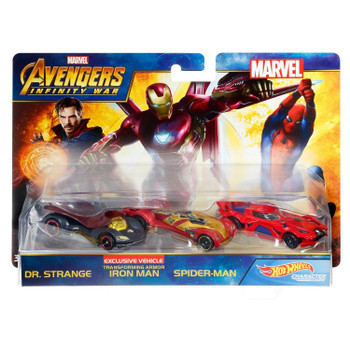Hot Wheels Marvel Avengers Infinity War DR. STRANGE, IRON MAN & SPIDER-MAN 1:64 Scale Die-Cast Character Car 3-Pack in packaging.