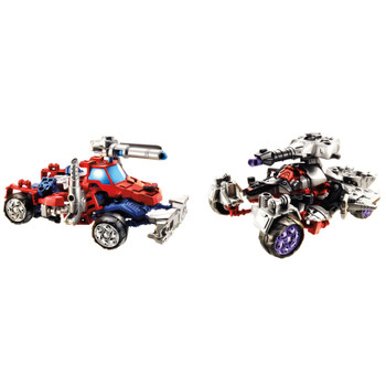2-in-1 Optimus Prime & Megatron Construct-Bots figures can be built as robots or vehicles.