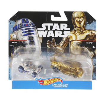 Hot Wheels Star Wars 1:64 Scale Die-cast R2-D2 & C-3PO (Weathered) Character Cars in packaging.