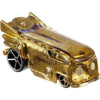 Iconic Star Wars characters - C-3PO and R2-D2 - re-imagined as Hot Wheels cars.