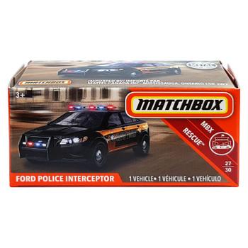 Matchbox Power Grabs FORD POLICE INTERCEPTOR 1:64 Scale Die-cast Vehicle in packaging.