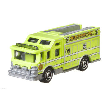 The Matchbox Hazard Squad emergency vehicle of fictional design with a neon yellow deco