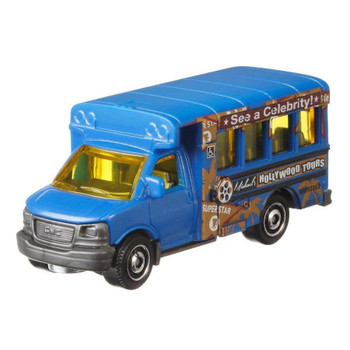 """Matchbox GMC School Bus with a """"Hollywood Tours"""" deco."""