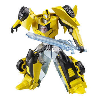 Bumblebee figure changes between robot and sports car in 7 steps.