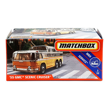 Matchbox Power Grabs '55 GMC SCENIC CRUISER 1:64 Scale Die-cast Vehicle in packaging.