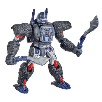 Unleash the primal power of the beasts with this Optimus Primal collectible figure, featuring detailed beast mode with intricate gorilla-inspired molded fur texture.
