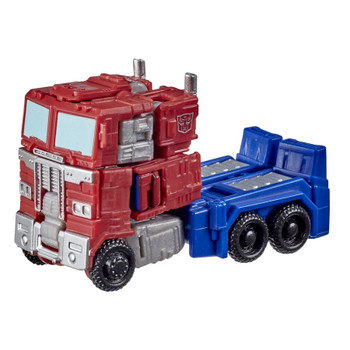 This Core Class Optimus Prime toy converts to G1-inspired Earth truck mode in 11 steps. Autobots, roll out!