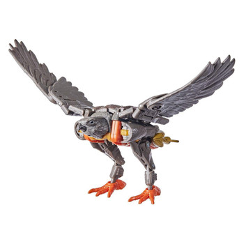 Airazor toy converts into a Beast Wars-inspired falcon mode in 22 steps, featuring wing, lower beak, and tail feather articulation that allow for more realistic falcon poses.