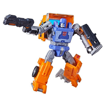 This G1-inspired toy converts to truck mode in 14 steps. Truck bed converts to shield and Energon blaster accessories!