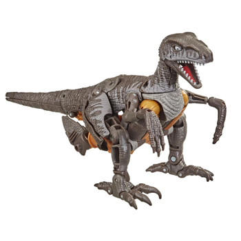 Dinobot toy converts to Beast Wars-inspired raptor mode in 28 steps. Articulated claws and posable jaw allow for realistic velociraptor poses.
