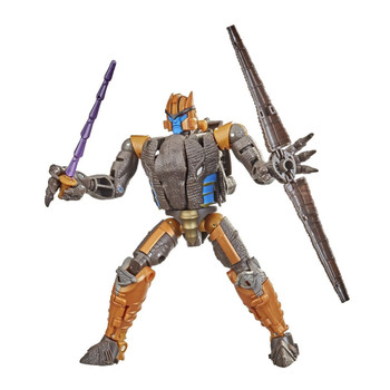 Unleash the primal power of the beasts with this Dinobot collectible figure, featuring detailed beast mode with intricate molded dinosaur scale texture.