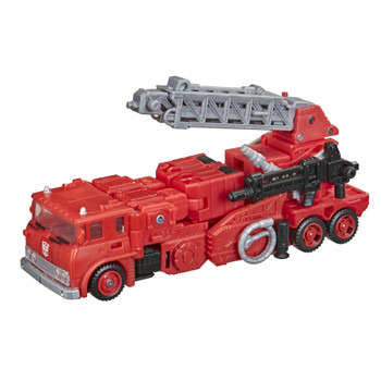 In the heat of things, Inferno stays cool under pressure. This G1-inspired toy converts into firetruck mode in 17 steps and comes with classic extinguisher blaster accessory.
