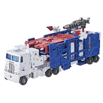 This G1-inspired toy converts into Earth armored truck mode in 12 steps and comes with a blaster accessory. Use parts from the truck trailer to armor figure up.
