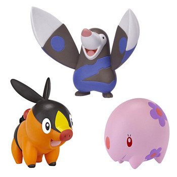 This Pokemon multi-pack contains the characters: Tepig, Drilbur and Munna. Display stand also included.