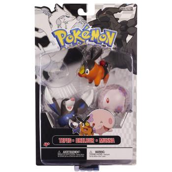 Pokemon Black & White Series: TEPIG, DRILBUR & MUNNA 3-Figure Multi-Pack in packaging.