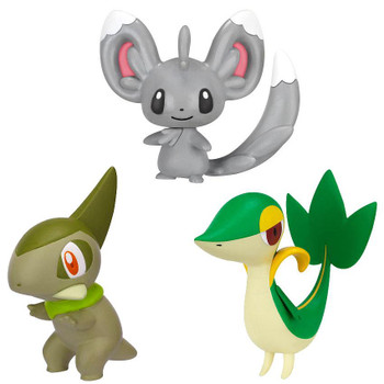 This Pokemon multi-pack contains the characters: Minccino, Snivy and Axew. Display stand also included.