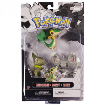 Pokemon Black & White Series: MINCCINO, SNIVY & AXEW 3-Figure Multi-Pack in packaging.