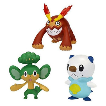 This Pokemon multi-pack contains the characters: Oshawott, Pansage and Darmanitan. Display stand also included.