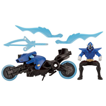 Sword Cycle vehicle comes with detachable 4-inch scale Blue Ranger rider figure (permanently posed in a sitting position).
