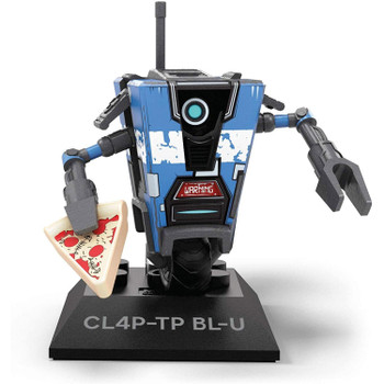 Buildable, collectible, faithfully designed and highly articulated CL4P-TP BL-U micro action figure with pizza slice.