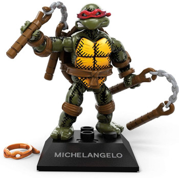 Buildable, collectible, faithfully designed and highly articulated Michelangelo micro action figure with dual nunchucks and second orange mask.