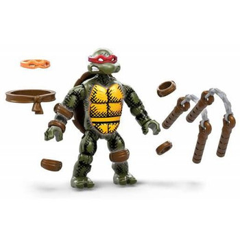 Michelangelo figure deco inspired by the classic comic book and features premium printed detail, 12 points of articulation and a buildable figure stand with nameplate to create a dynamic display.