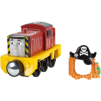 """Thomas & Friends Take-n-Play PIRATE SALTY Die-cast Metal Engine features a removable """"pirate mask""""."""