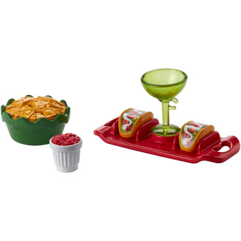 This Taco Party set includes a serving tray, tacos for two, a bowl of nachos, salsa dip, and a cocktail glass.