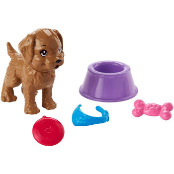 Barbie Mini Story Starter - Puppy Accessory Pack includes puppy, bowl, bone, collar, and dog toy.