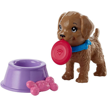 The puppy can hold the dog toy in its mouth.