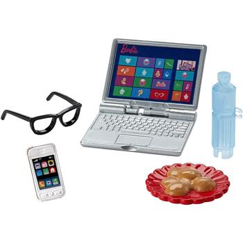 Barbie Mini Story Starter - Tech Pack Accessory Pack includes laptop, mobile phone, eyeglasses, water bottle, and cookies.