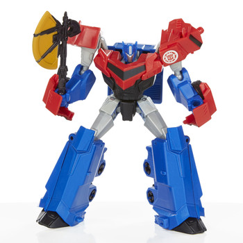 In robot mode, Optimus Prime figure stands around 12.5 cm (5 inch) tall and comes with battle axe accessory.