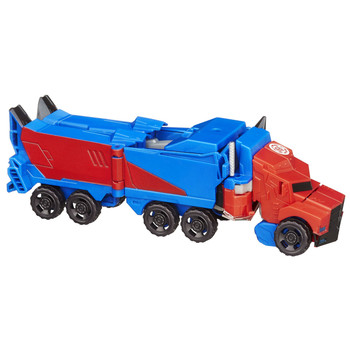 Optimus Prime changes between robot and semi truck in 9 steps.