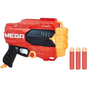 Break into mega-sized battling with the Nerf N-Strike Mega Tri-Break blaster!