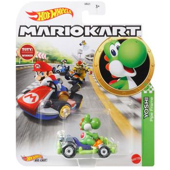 Hot Wheels Mario Kart YOSHI (Pipe Frame) 1:64 Scale Replica Die-Cast Vehicle in packaging.