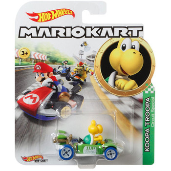 Hot Wheels Mario Kart KOOPA TROOPA (Circuit Special) 1:64 Scale Replica Die-Cast Vehicle in packaging.