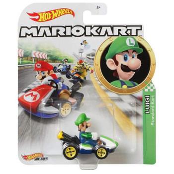 Hot Wheels Mario Kart LUIGI (Standard Kart) 1:64 Scale Replica Die-Cast Vehicle in packaging.