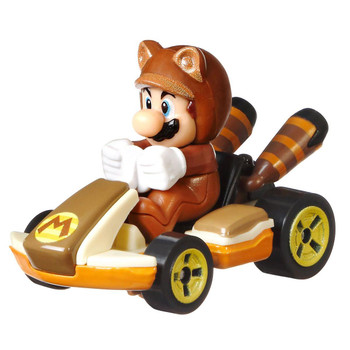 Hot Wheels partners with fan-favourite Mario Kart for this Tanooki Mario track-optimized die-cast 1:64 scale replica vehicle.