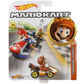 Hot Wheels Mario Kart TANOOKI MARIO (Standard Kart) 1:64 Scale Replica Die-Cast Vehicle in packaging.
