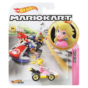 Hot Wheels Mario Kart PRINCESS PEACH (Standard Kart) 1:64 Scale Replica Die-Cast Vehicle in packaging.