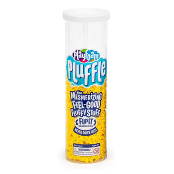 Yellow Pluffle in Flip n' Flow storage tube container.