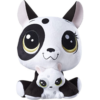 Bullena Doghouser is an adorable plush pet doggie who comes with her baby, Scamper Doghouser, nestled between her cute, furry paws.