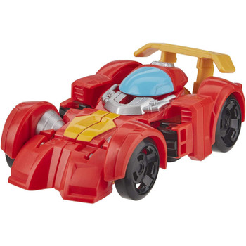 Little heroes can enjoy twice the fun with 2 modes of play, converting this action figure from race car to robot and back again.