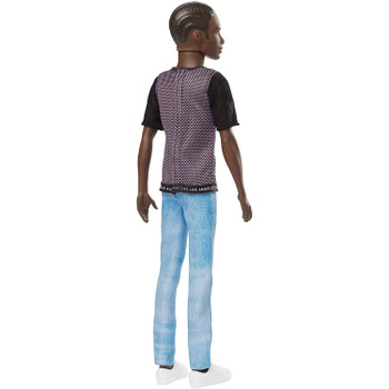 Ken doll is more slender than the original body and wears a sporty shirt with number 4 and faded denim jeans.
