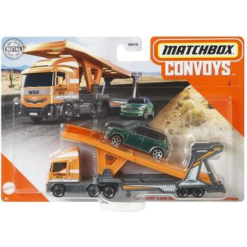 Matchbox Convoys MBX Cabover & Auto Transport Trailer with 2011 Mini Countryman 1:64 Scale Die-cast Vehicle in packaging.