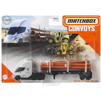 Matchbox Convoys Tesla Semi & Pipe Trailer with Load Lifter 1:64 Scale Die-cast Vehicle in packaging.
